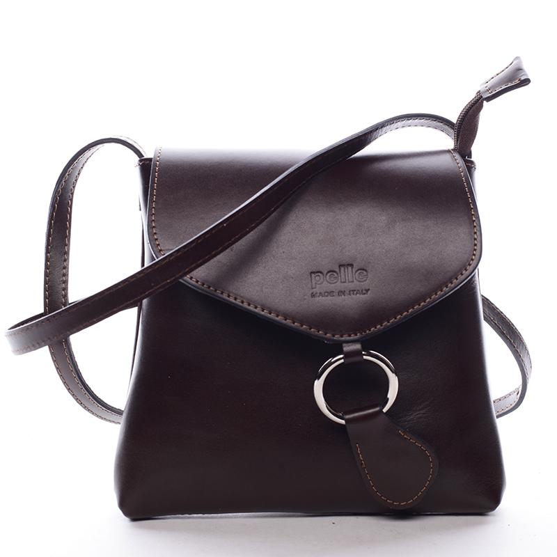 Dámská kožená crossbody kabelka hnědá - ItalY Saffie
