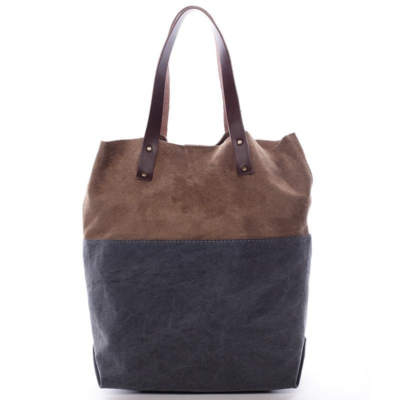 Dámská kožená kabelka shopper šedá - ItalY Luren