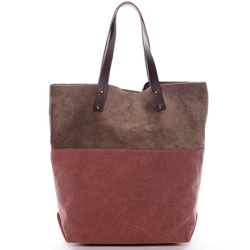 Dámská kožená kabelka shopper červená - ItalY Luren