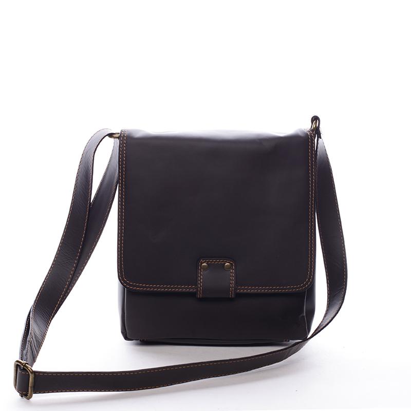 Luxusní kožená taška přes rameno hnědá - ItalY Tristen