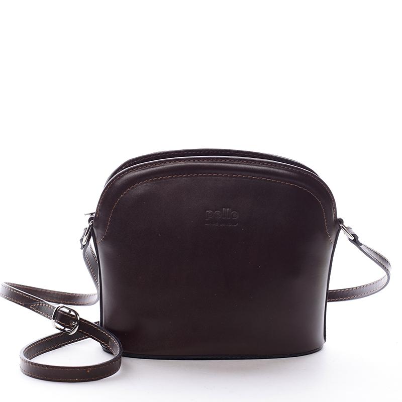 Dámská kožená crossbody kabelka tmavě hnědá - ItalY Tracy