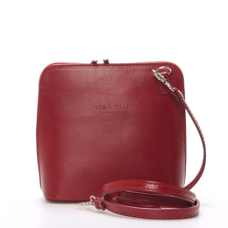 Dámská kožená crossbody kabelka červená - ItalY Hannah