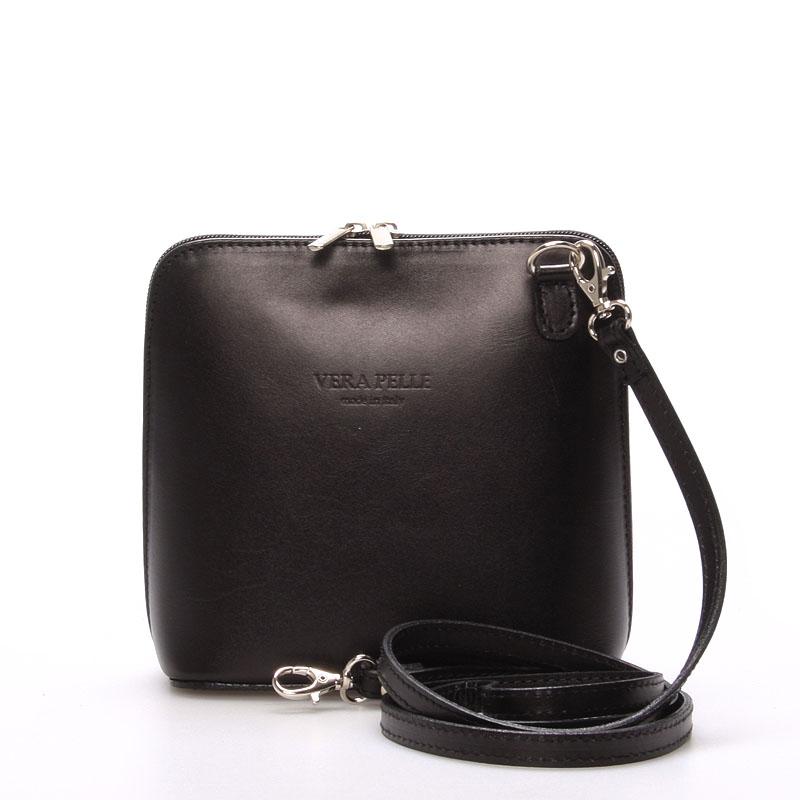 Dámská kožená crossbody kabelka černá - ItalY Hannah