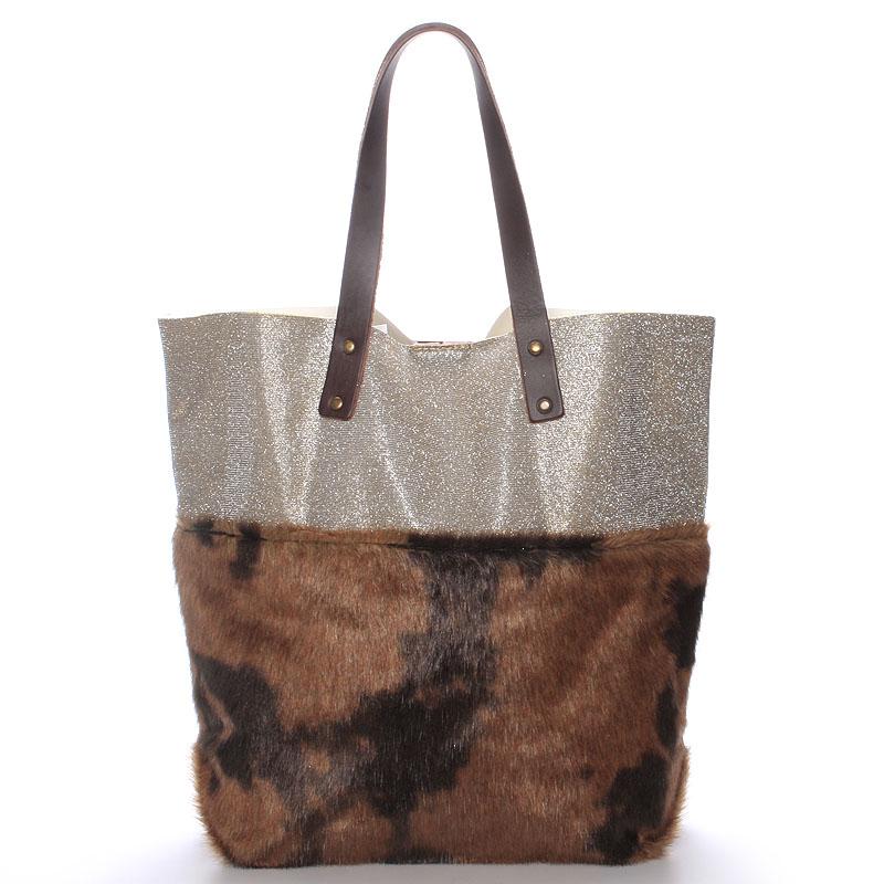 Dámská kabelka shopper s kožešinou hnědá - ItalY Rachel
