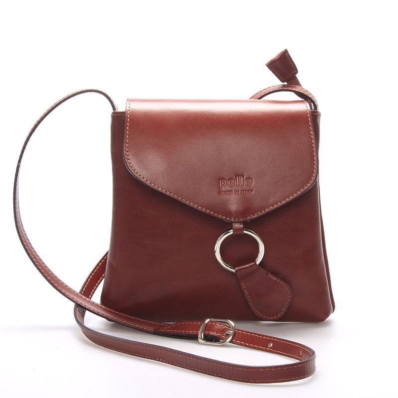 Dámská kožená crossbody kabelka světlejší hnědá - ItalY Saffie