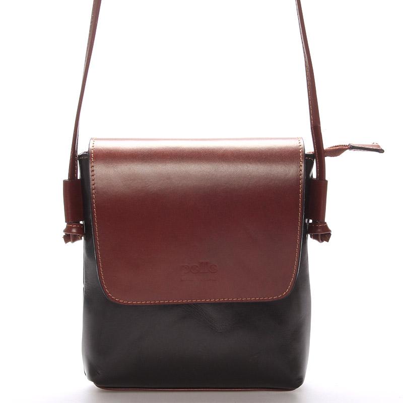 Dámská kožená crossbody kabelka černo-hnědá - ItalY Tamia