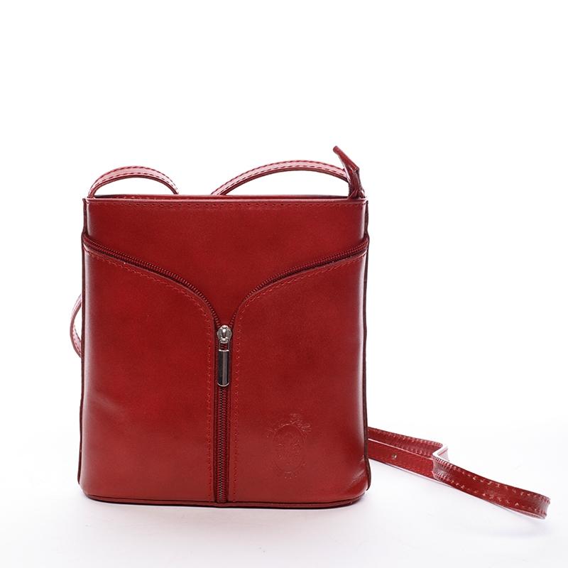 Dámská kožená crossbody kabelka červená - ItalY Hallie