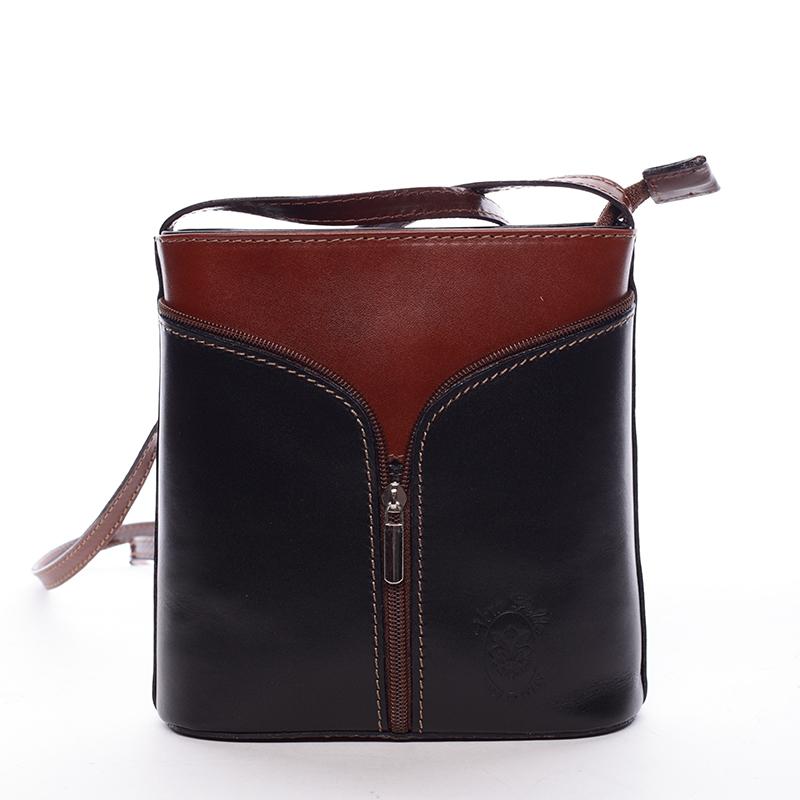 Dámská kožená crossbody kabelka černo-hnědá - ItalY Hallie
