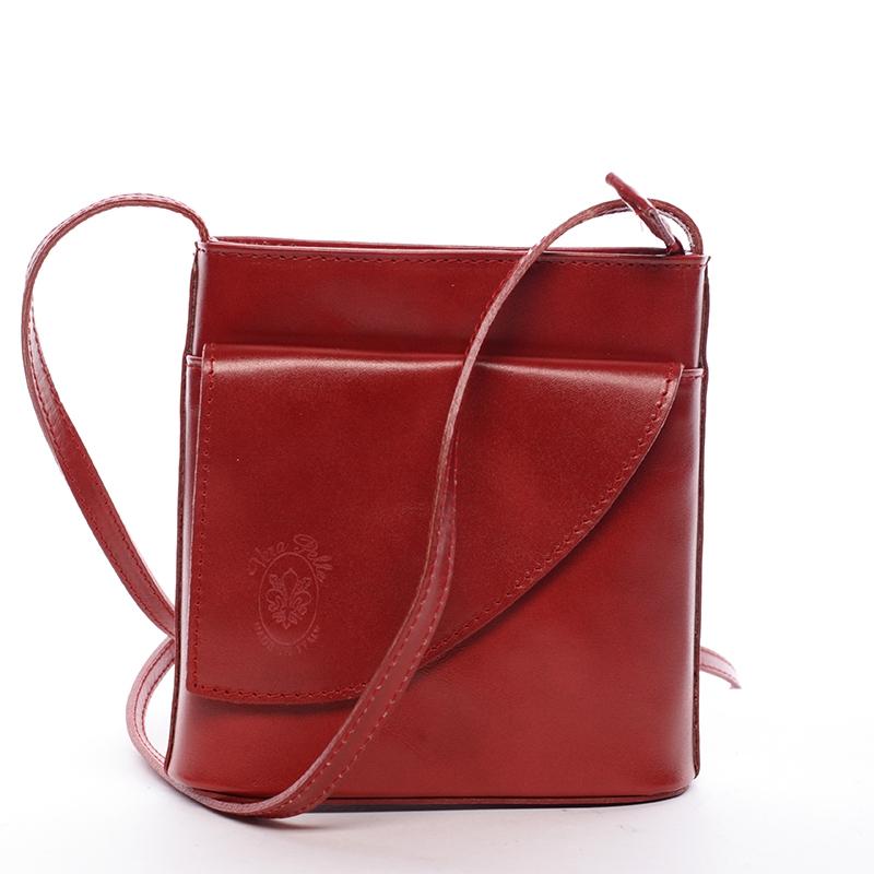Dámská kožená crossbody kabelka červená - ItalY Cora