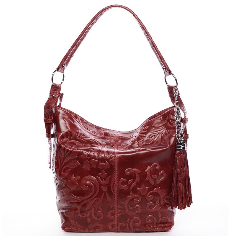Dámská kožená kabelka přes rameno vínová - ItalY Heather