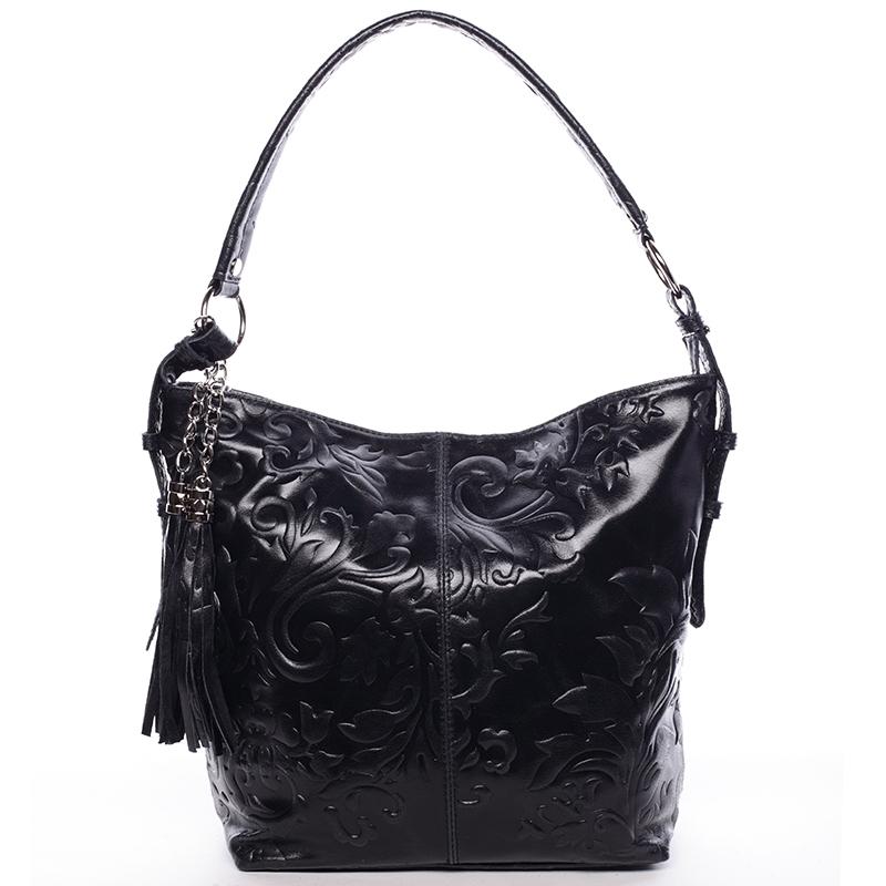 Dámská kožená kabelka přes rameno černá - ItalY Heather