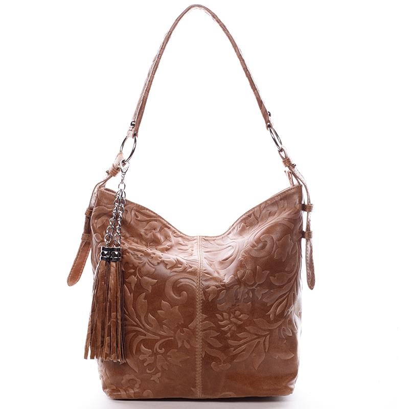 Dámská kožená kabelka přes rameno hnědá - ItalY Heather