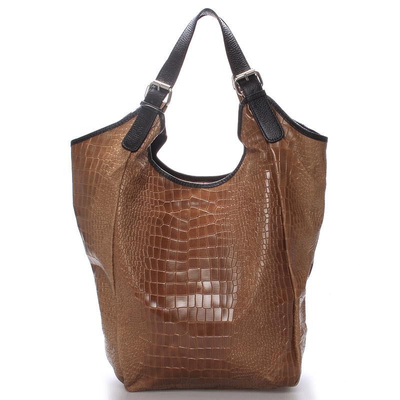 Luxusní dámská kožená kabelka hnědá - ItalY Helen