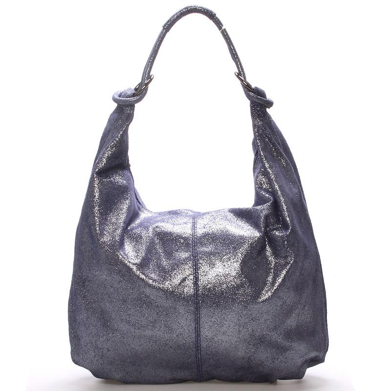Dámská kožená třpytivá kabelka modrá - ItalY Amadea