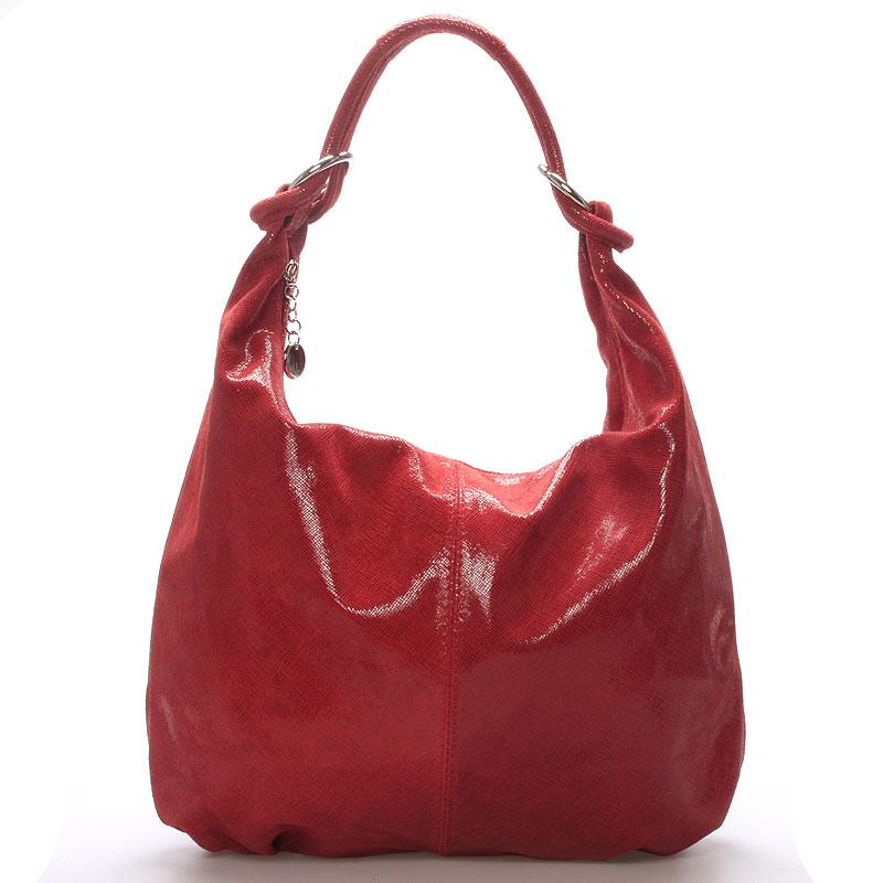 Dámská kožená lakovaná kabelka červená - ItalY Amadea
