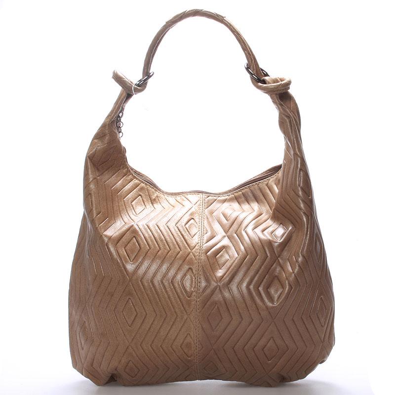 Dámská kožená kabelka se vzorem béžová - ItalY Amadea