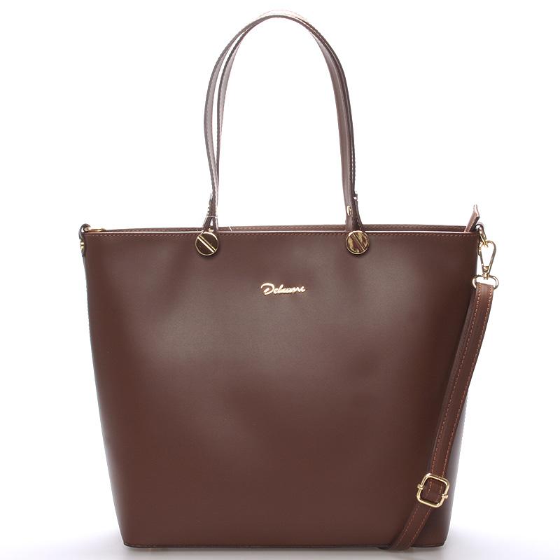 Dámská kožená kabelka hnědá - Delami Valentina