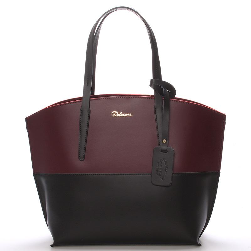 Dámská kožená kabelka vínová - ItalY Galina