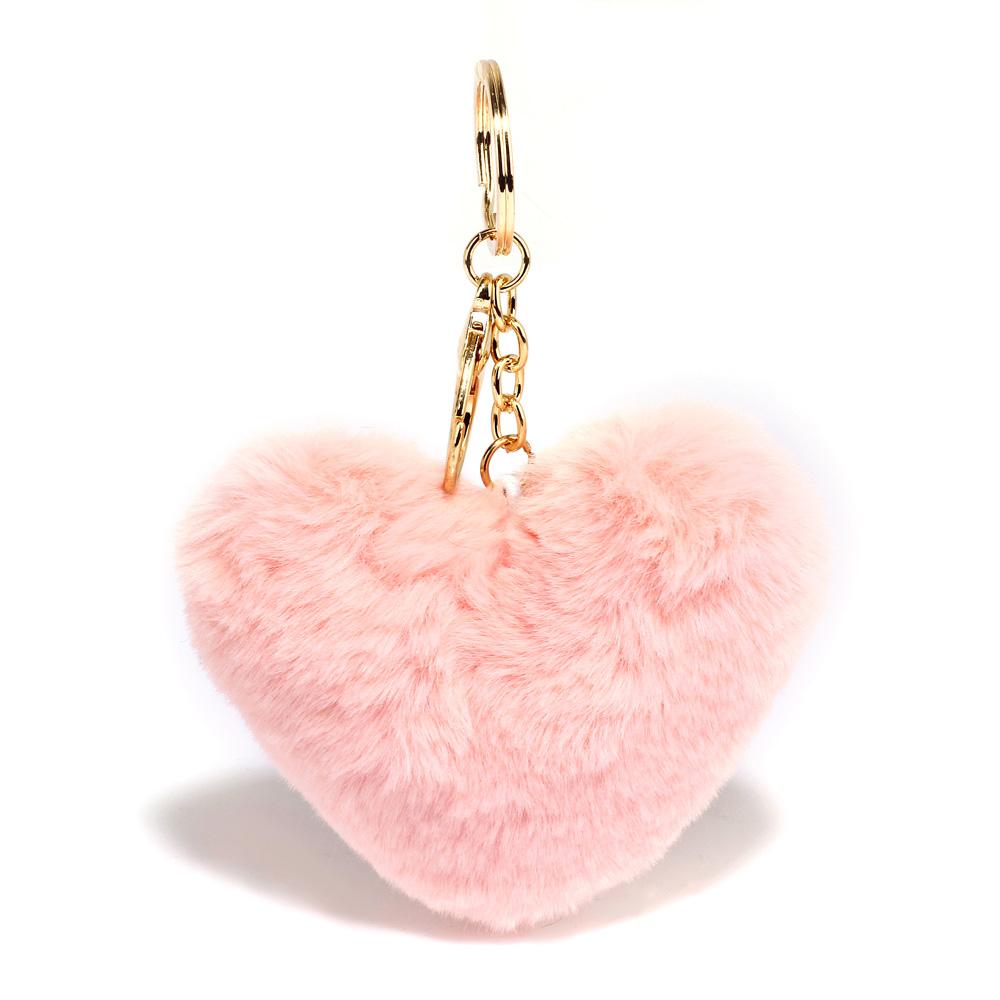 Přívěsek na kabelku růžový - srdíčko