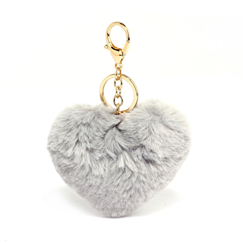 Přívěsek na kabelku šedý - srdíčko