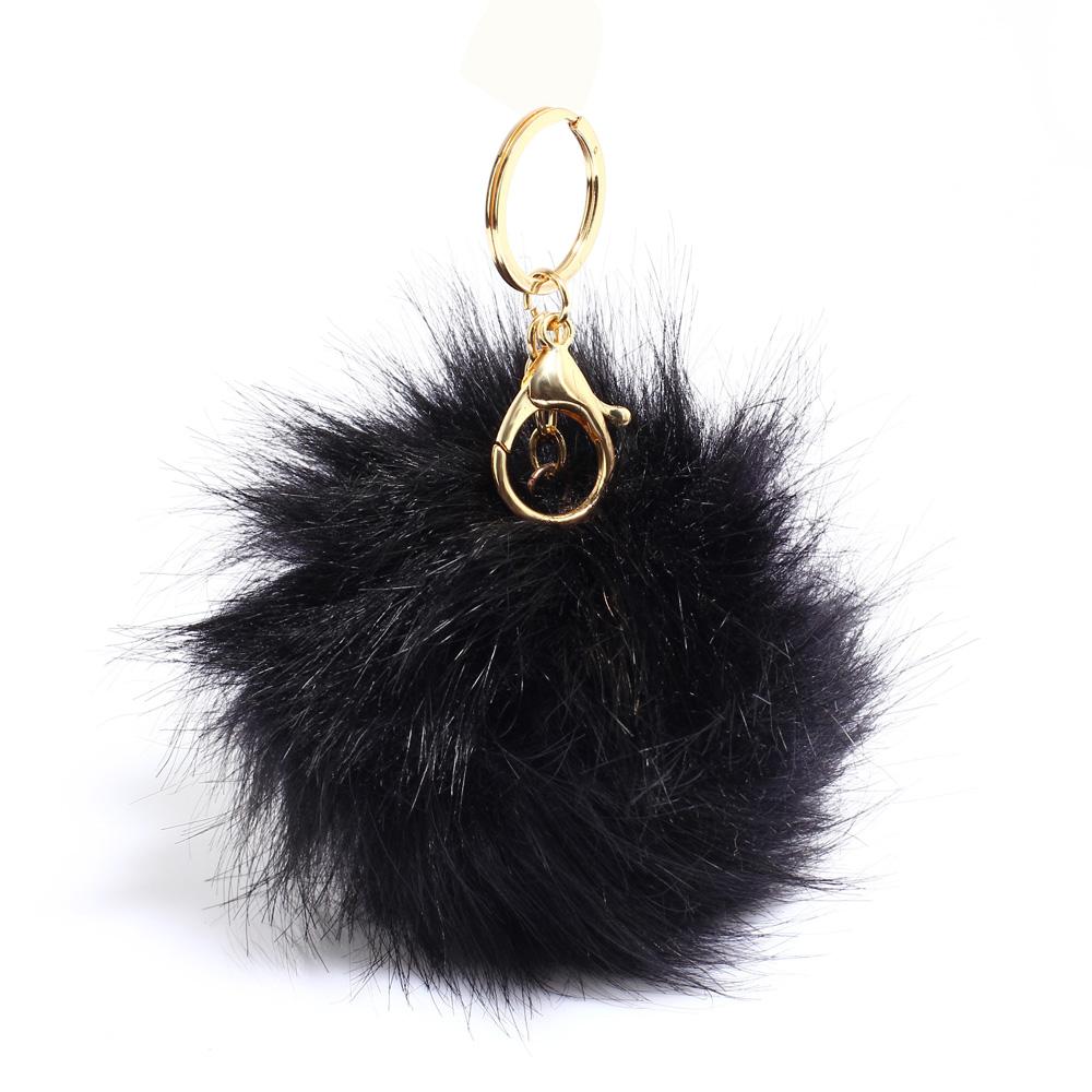 Přívěsek na kabelku černý - bambule