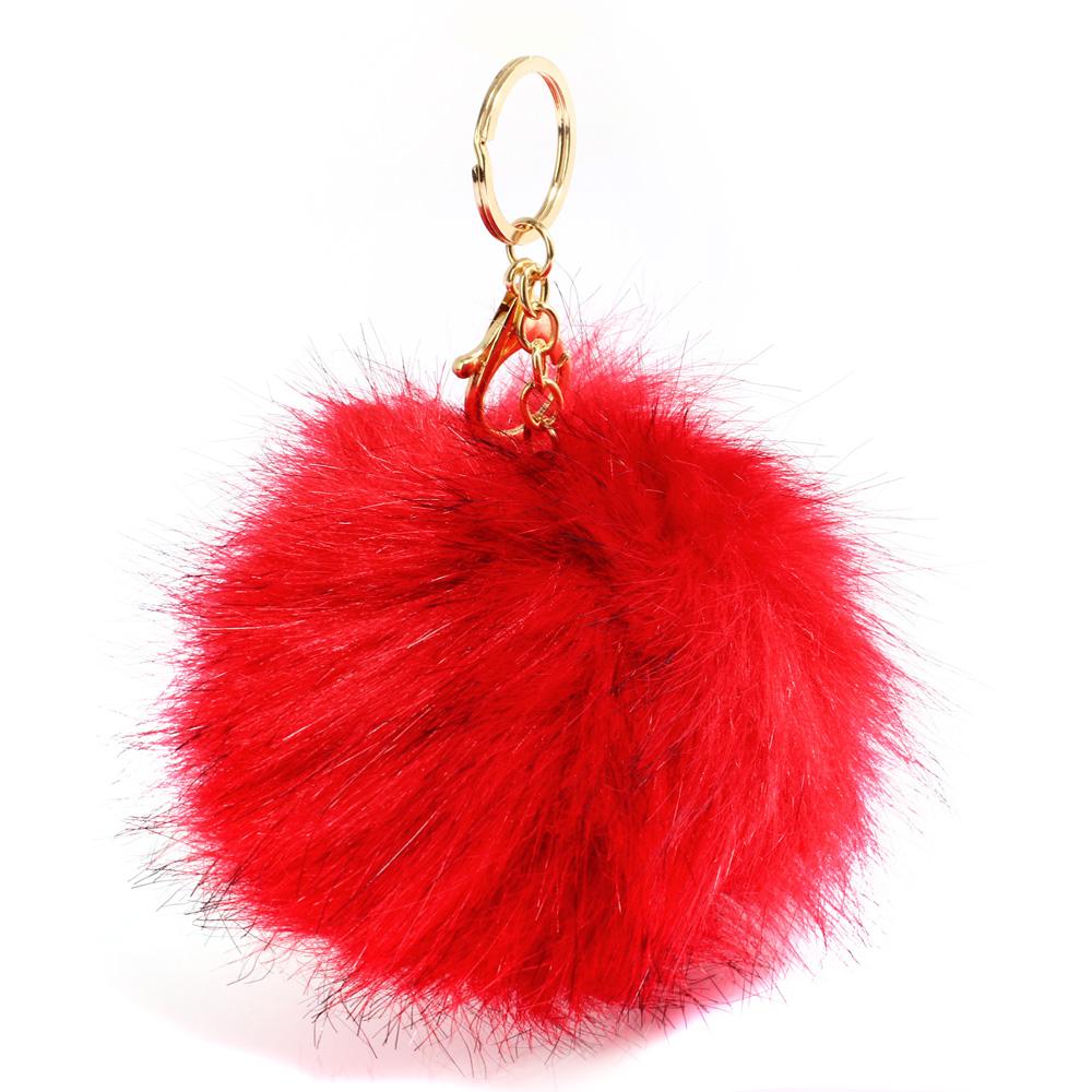 Přívěsek na kabelku červený - bambule