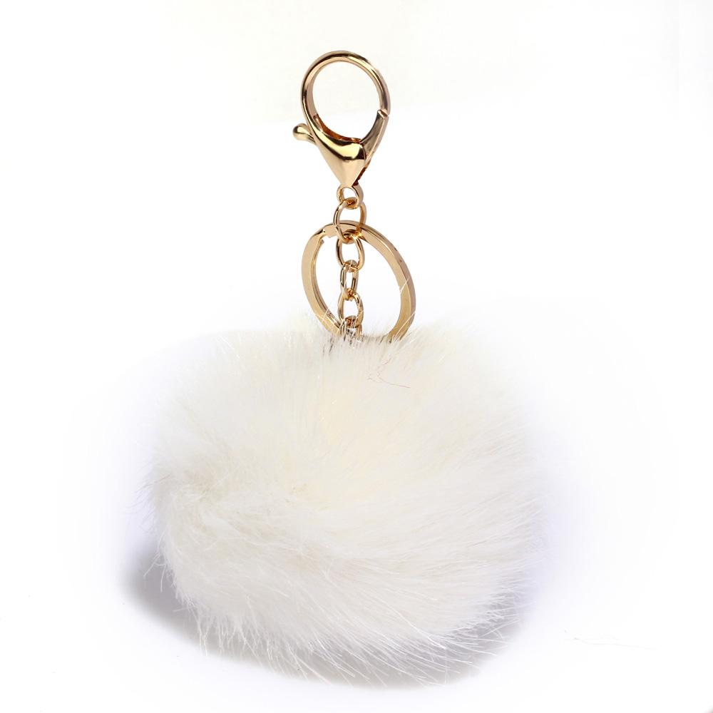 Přívěsek na kabelku bílý - bambule