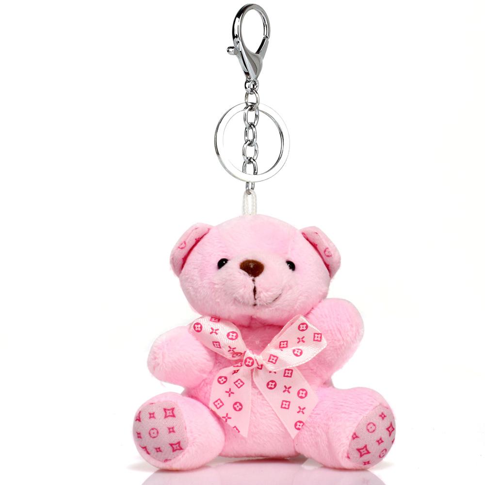 Přívěsek na kabelku růžový - medvídek