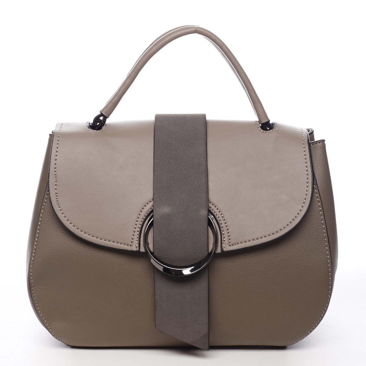 Jedinečná dámská kabelka do ruky taupe - Maria C Laurel