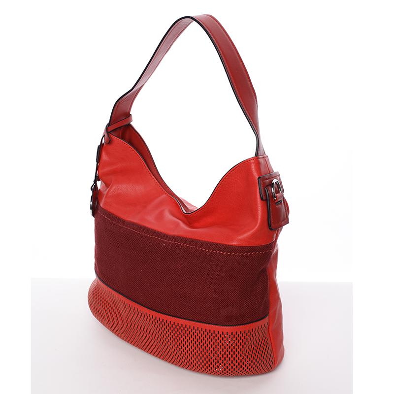Trendy dámská kabelka přes rameno červená - MARIA C Fleur