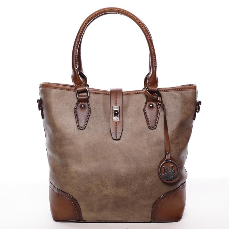 Elegantní větší dámská kabelka přes rameno taupe - MARIA C Evangela