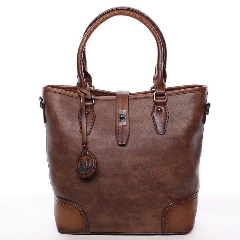 Elegantní větší dámská kabelka přes rameno hnědá - MARIA C Evangela