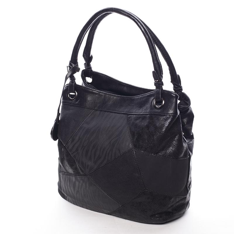 Středně velká dámská luxusní kabelka černá - Maria C Georgetta
