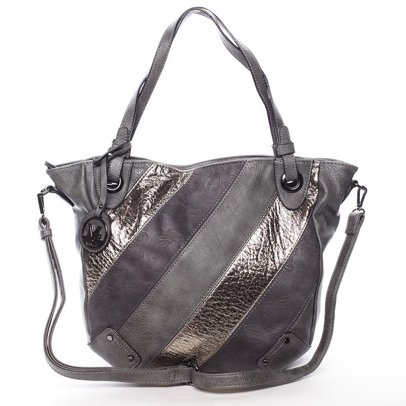 Dámská elegantní kabelka šedá se vzorem - Maria C Eirene