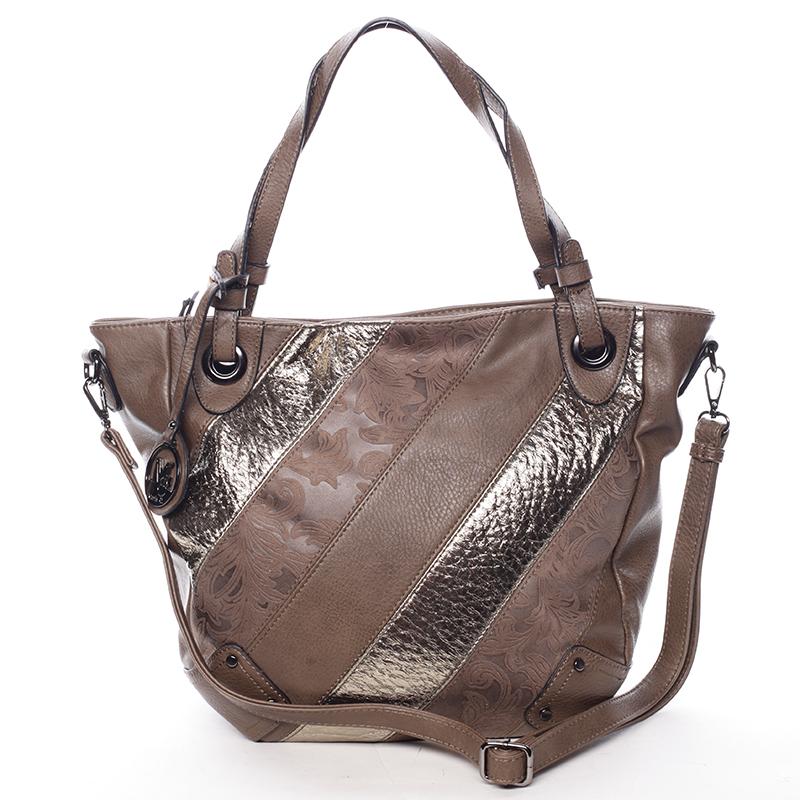 Dámská elegantní kabelka tmavě hnědá se vzorem - Maria C Eirene