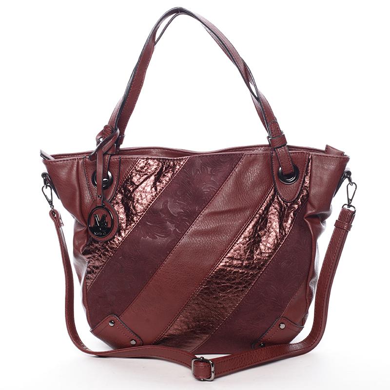 Dámská elegantní kabelka tmavě červená se vzorem - Maria C Eirene