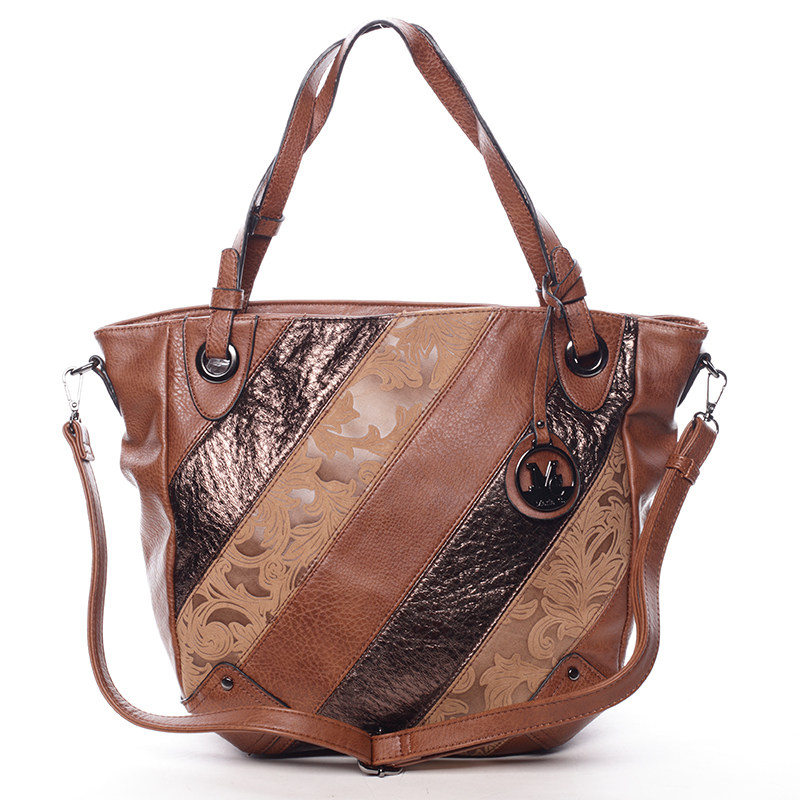 Dámská elegantní kabelka hnědá se vzorem - Maria C Eirene