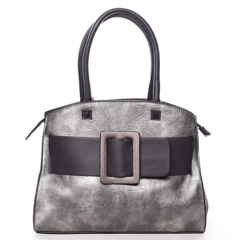 Luxusní stříbrně šedá dámská kabelka do ruky - MARIA C Erasto