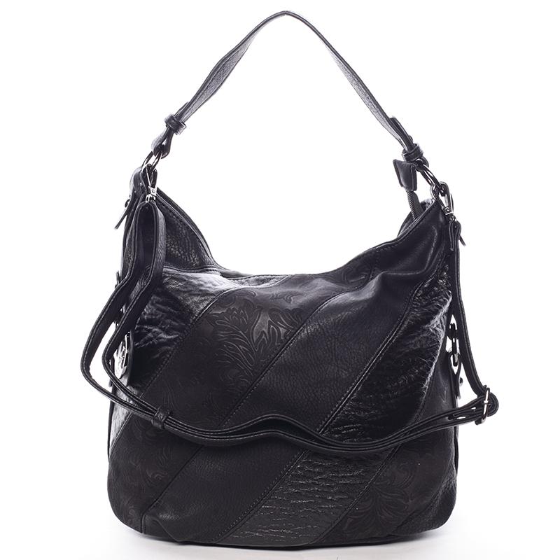 Trendy dámská kabelka přes rameno černá se vzorem - MARIA C Eusebia