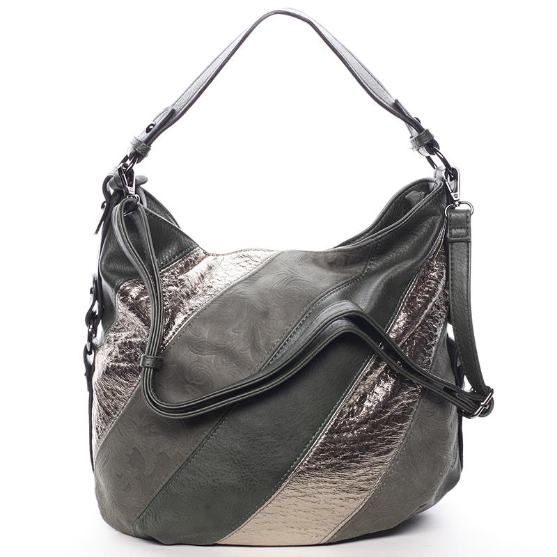 Trendy dámská kabelka přes rameno tmavě zelená se vzorem - MARIA C Eusebia