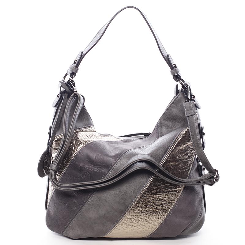 Trendy dámská kabelka přes rameno šedá se vzorem - MARIA C Eusebia
