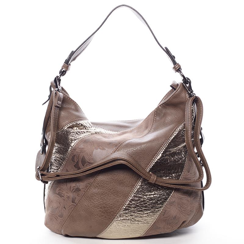 Trendy dámská kabelka přes rameno tmavě hnědá se vzorem - MARIA C Eusebia
