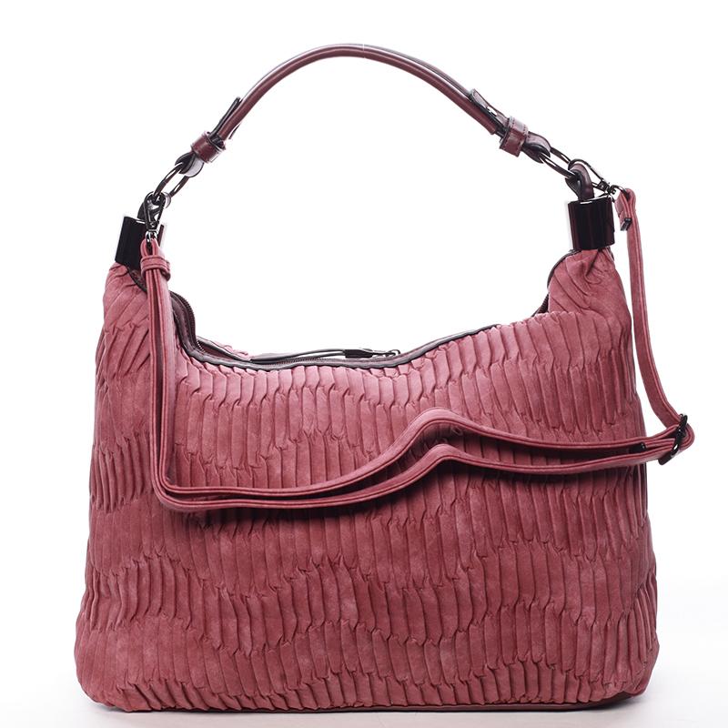 Zvrásněná měkká tmavě růžová dámská kabelka přes rameno - MARIA C Elektra
