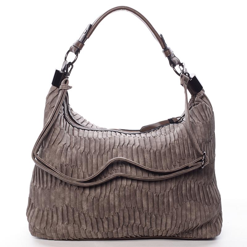 Zvrásněná měkká taupe dámská kabelka přes rameno - MARIA C Elektra