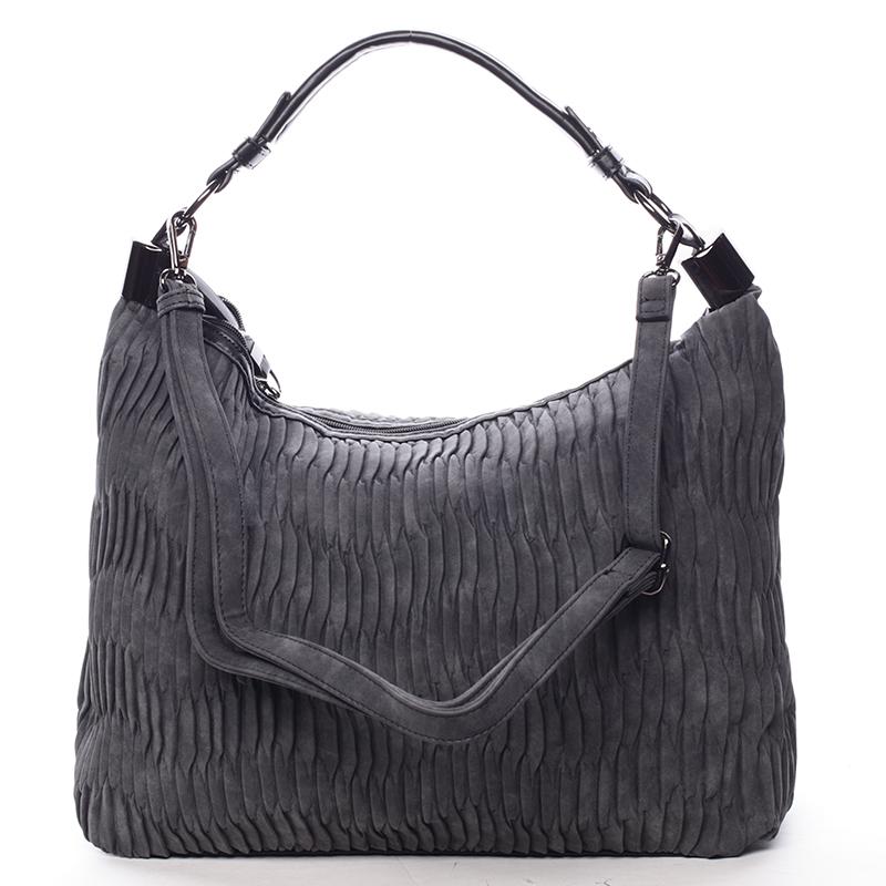 Zvrásněná měkká černá dámská kabelka přes rameno - MARIA C Elektra