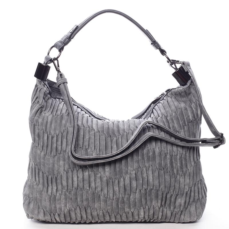 Zvrásněná měkká šedá dámská kabelka přes rameno - MARIA C Elektra
