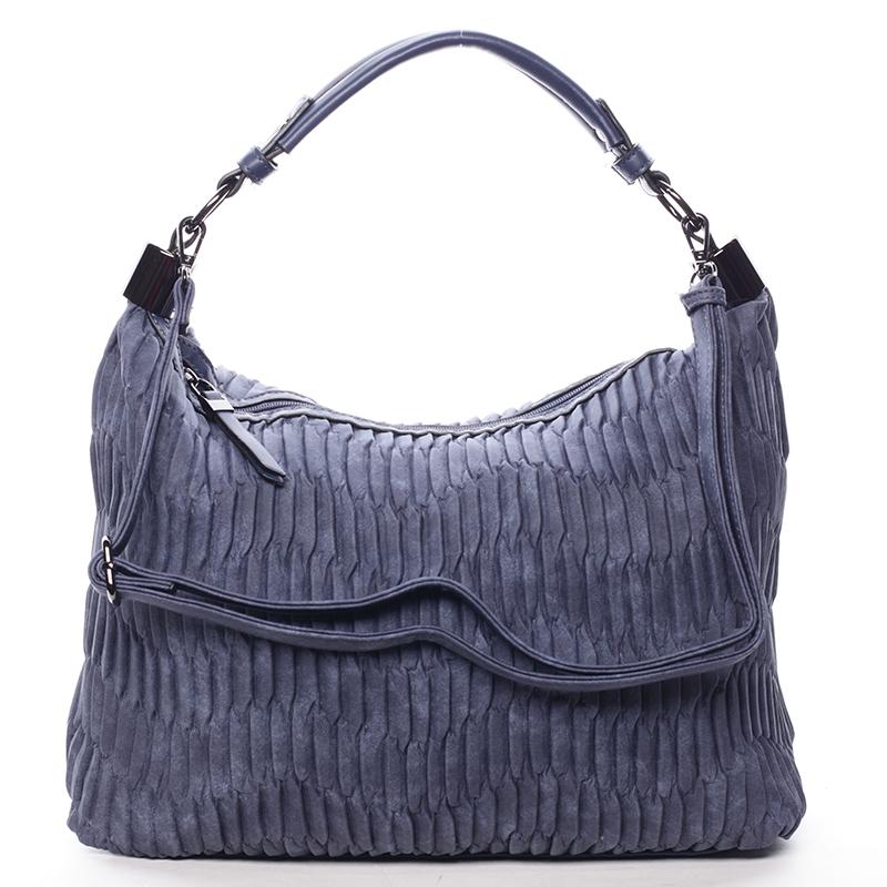 Zvrásněná měkká tmavě modrá dámská kabelka přes rameno - MARIA C Elektra