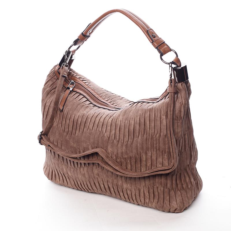 Zvrásněná měkká hnědá dámská kabelka přes rameno - MARIA C Elektra