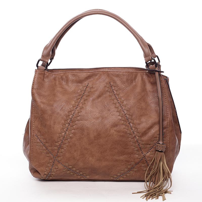 Hnědá dámská kabelka s originálním vzorem - MARIA C Glauce