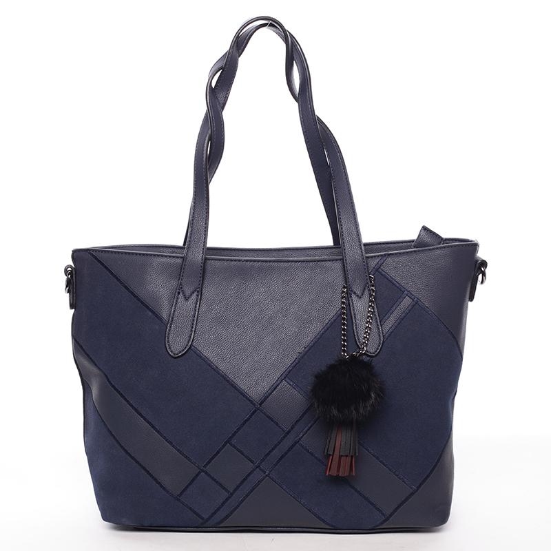 Větší módní dámská kabelka přes rameno tmavě modrá - MARIA C Galene